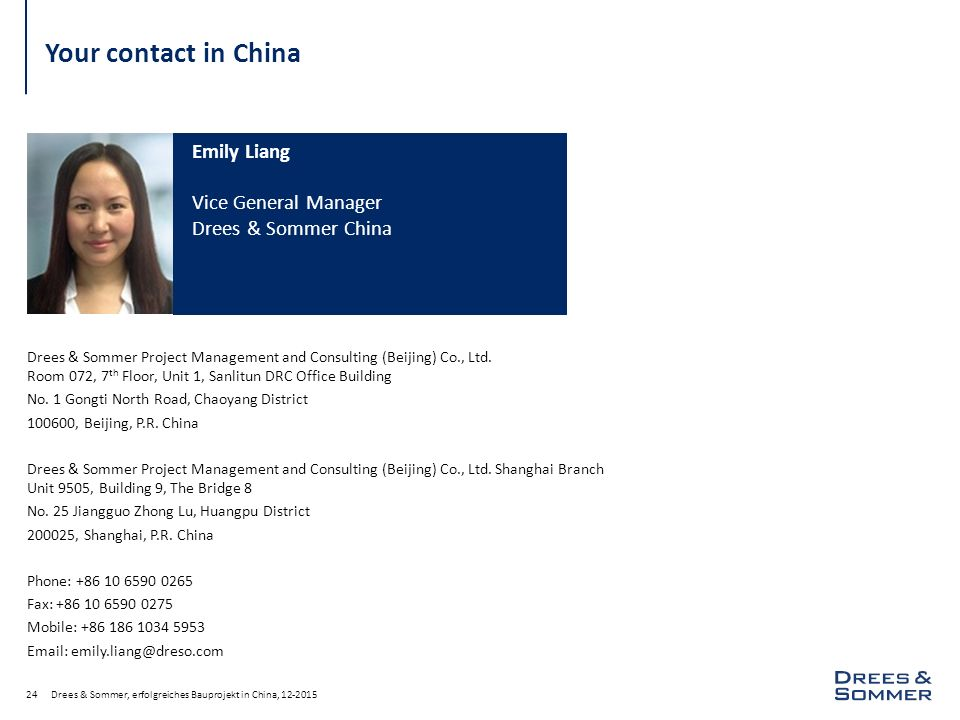 Your contact in China Emily Liang Vice General Manager