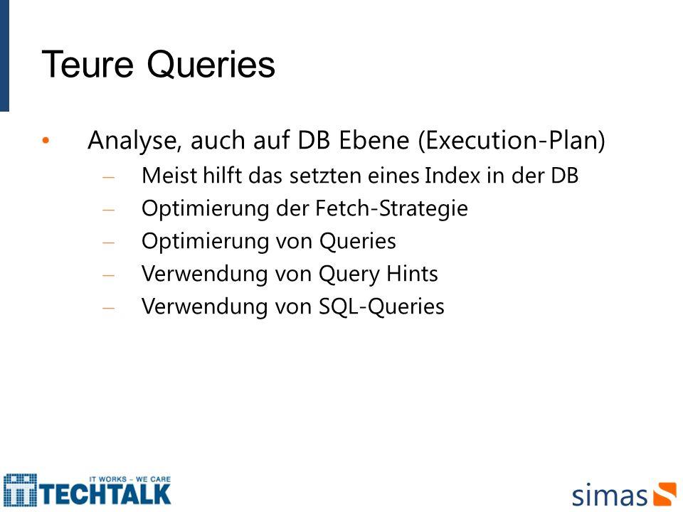 Teure Queries Analyse, auch auf DB Ebene (Execution-Plan)