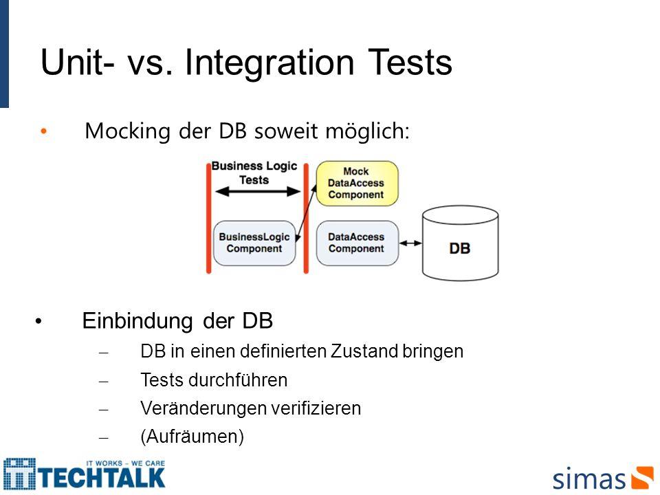 Unit- vs. Integration Tests