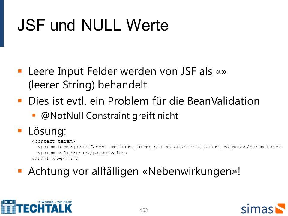 JSF und NULL Werte Leere Input Felder werden von JSF als «» (leerer String) behandelt. Dies ist evtl. ein Problem für die BeanValidation.