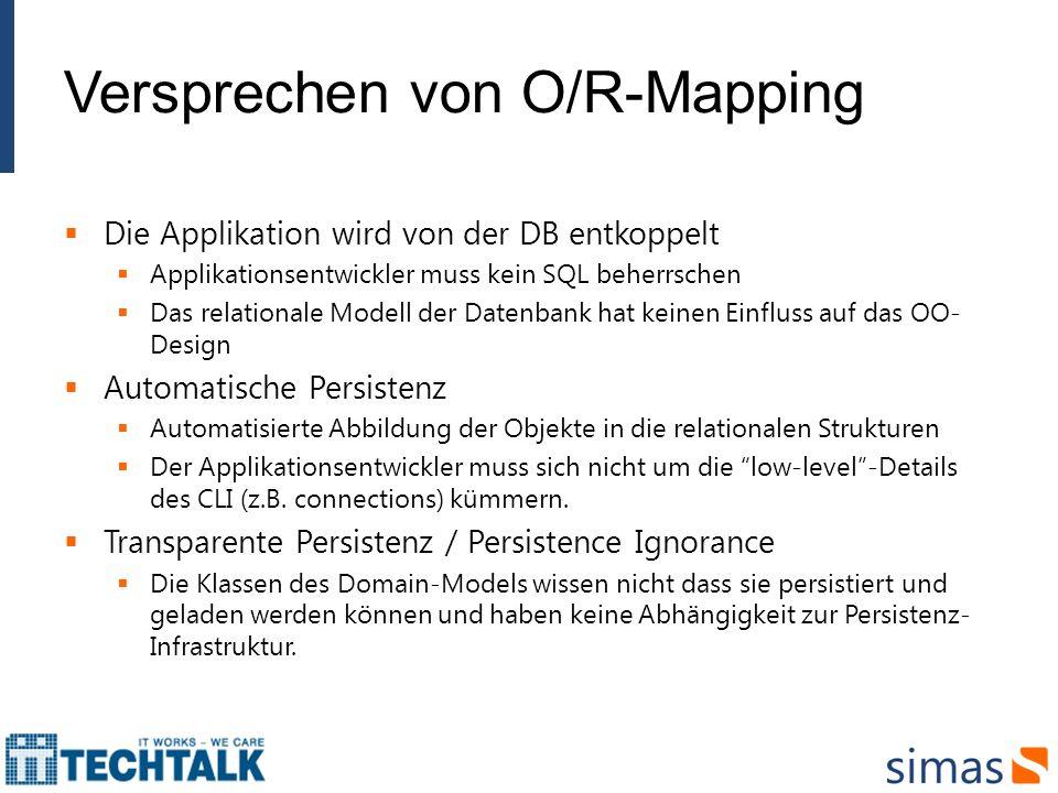 Versprechen von O/R-Mapping