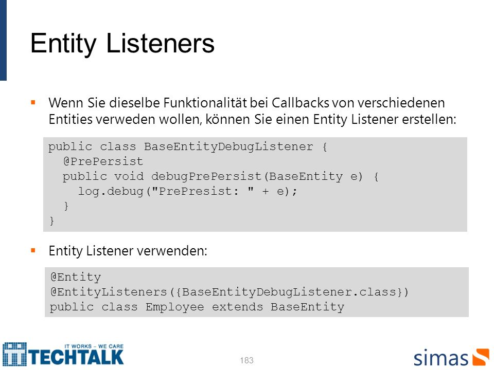 Entity Listeners