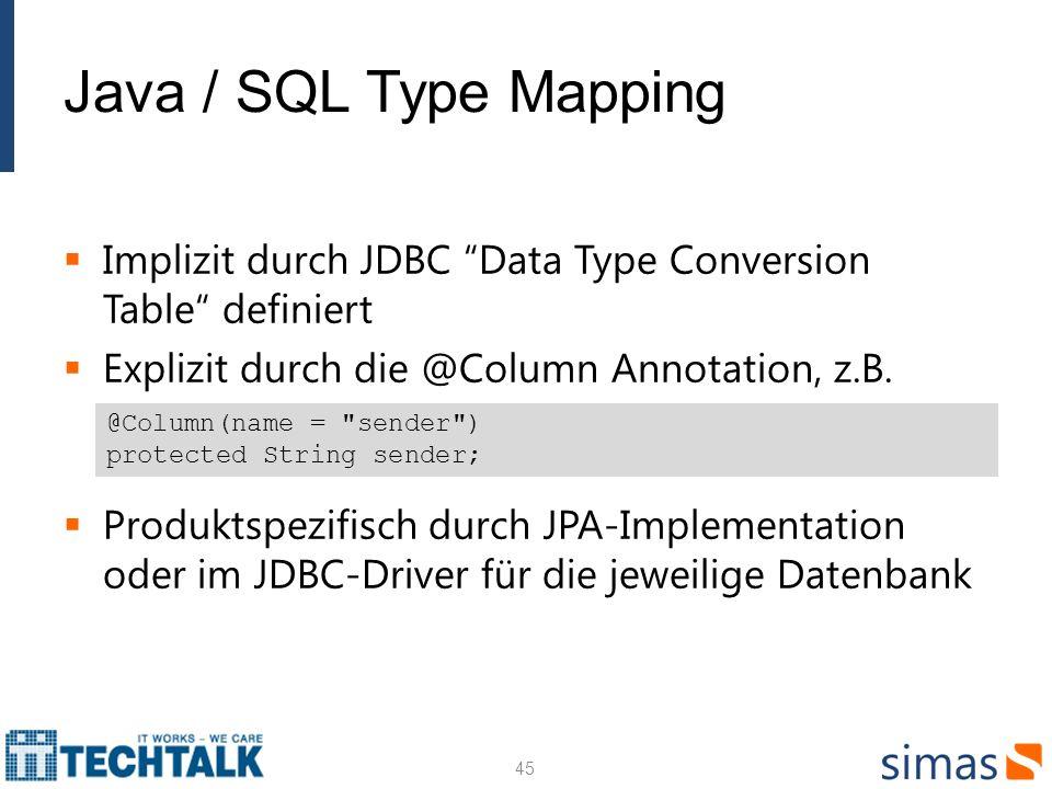 Java / SQL Type Mapping Implizit durch JDBC Data Type Conversion Table definiert. Explizit durch die @Column Annotation, z.B.