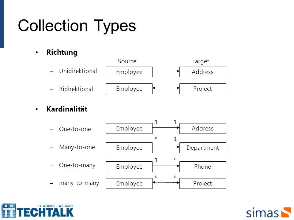 Collection Types Richtung Kardinalität Unidirektional Bidirektional