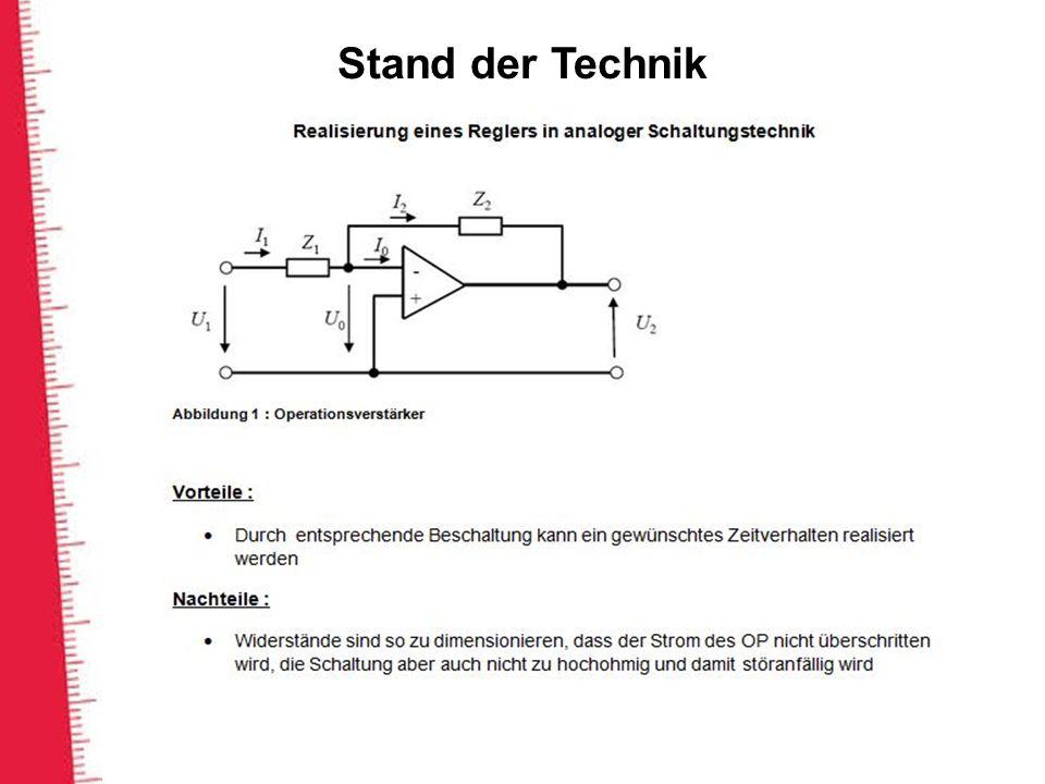 Stand der Technik Die reglersparameter hängen von Auswahl der Impedanz z1 und z2 ab.