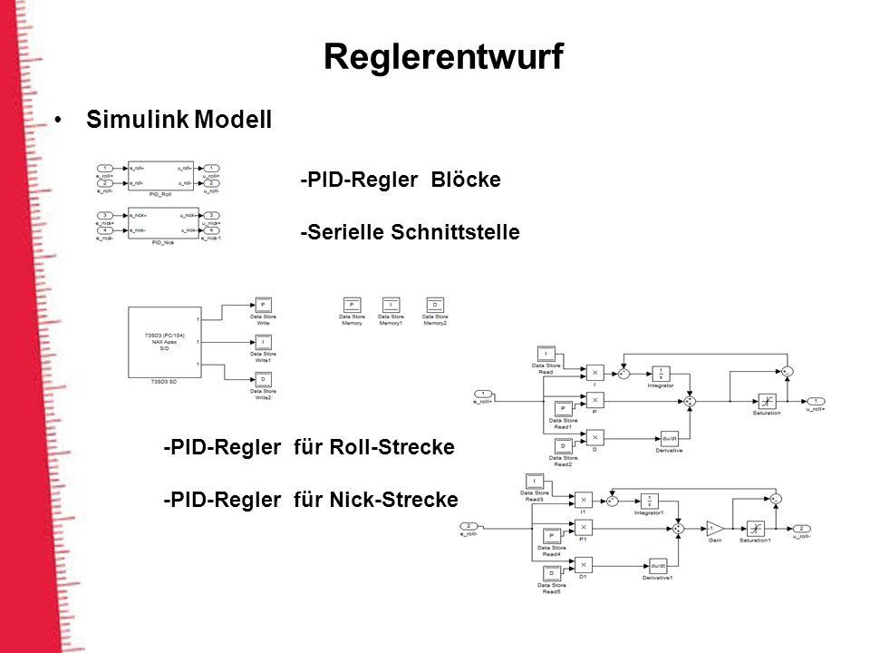 Reglerentwurf Simulink Modell -PID-Regler Blöcke