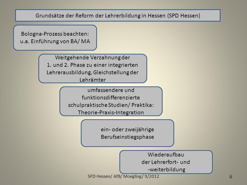 Grundsätze der Reform der Lehrerbildung in Hessen (SPD Hessen)