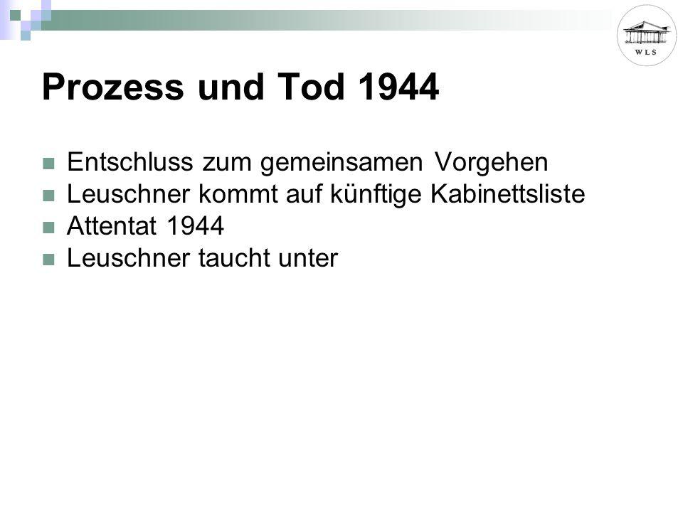 Prozess und Tod 1944 Entschluss zum gemeinsamen Vorgehen