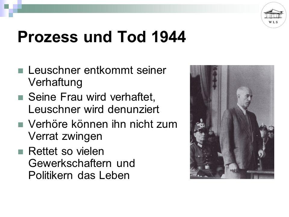 Prozess und Tod 1944 Leuschner entkommt seiner Verhaftung