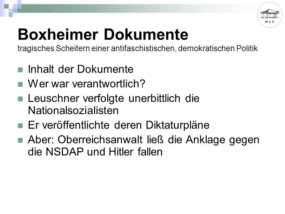 Boxheimer Dokumente tragisches Scheitern einer antifaschistischen, demokratischen Politik