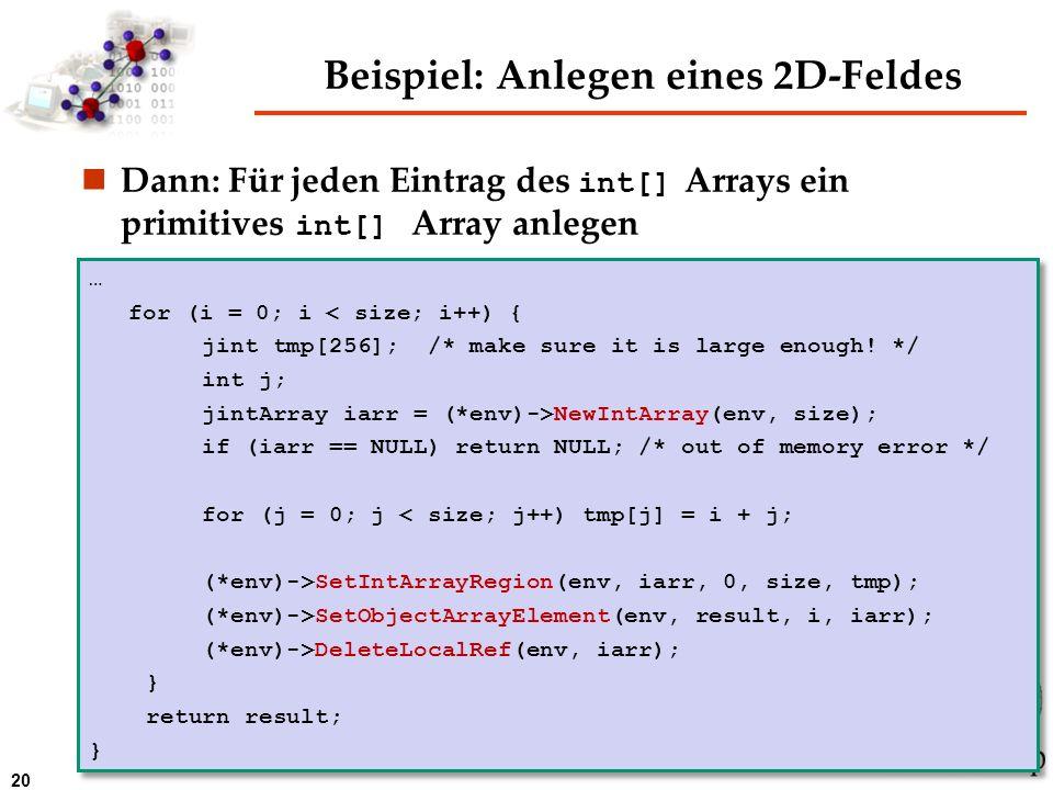 Beispiel: Anlegen eines 2D-Feldes