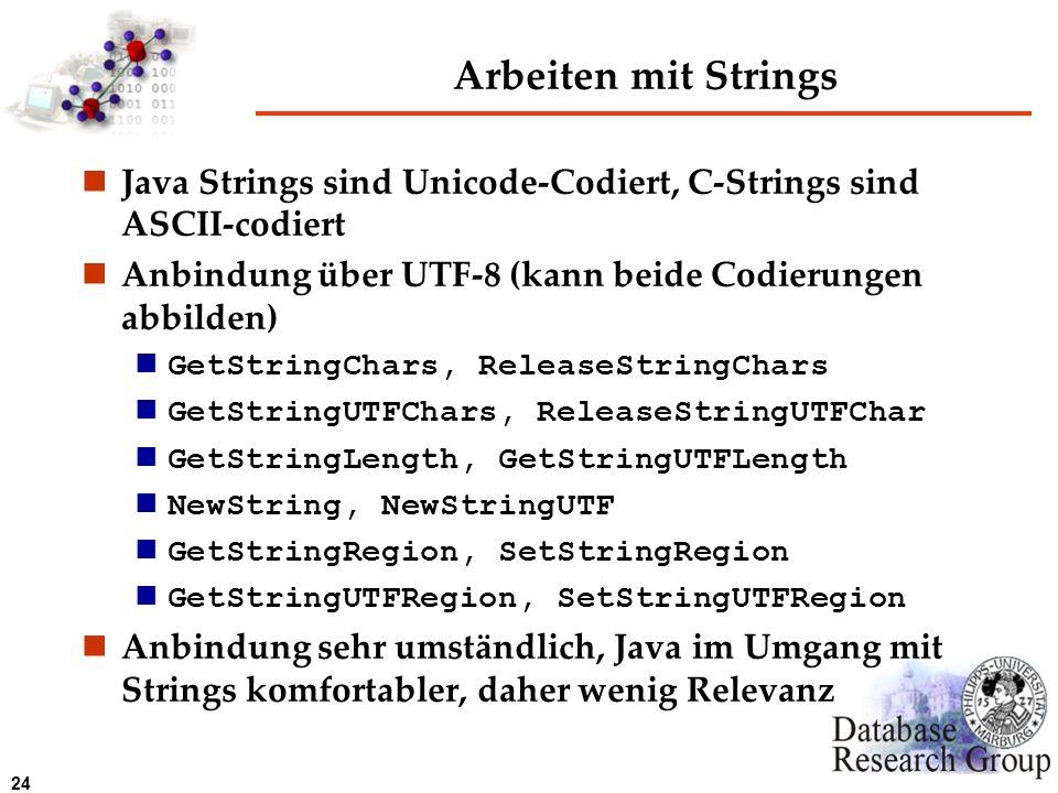 Arbeiten mit Strings Java Strings sind Unicode-Codiert, C-Strings sind ASCII-codiert. Anbindung über UTF-8 (kann beide Codierungen abbilden)