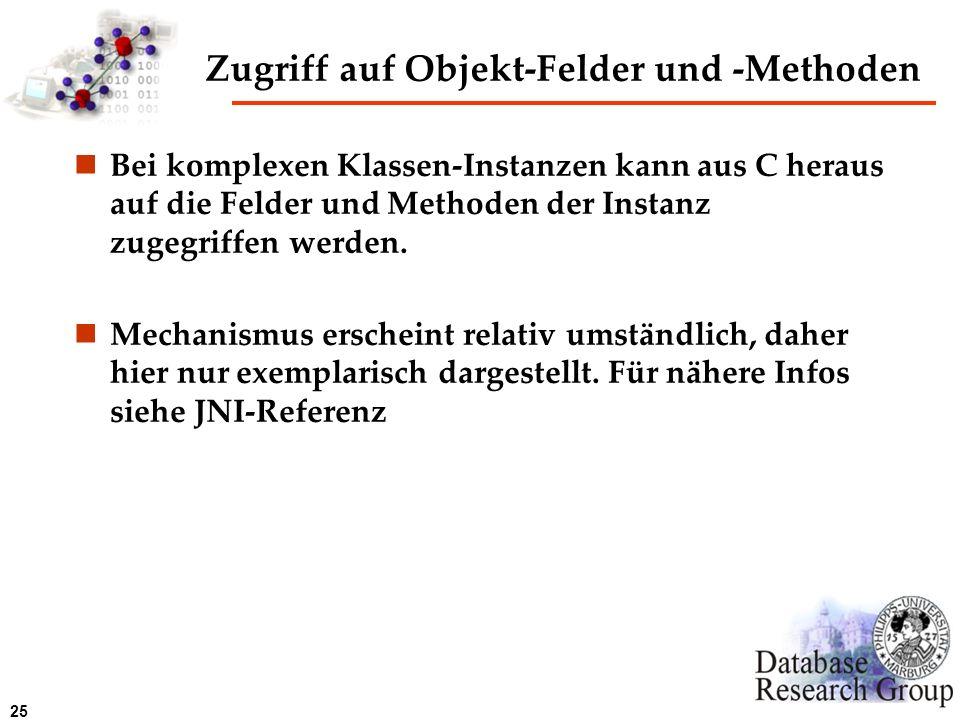 Zugriff auf Objekt-Felder und -Methoden