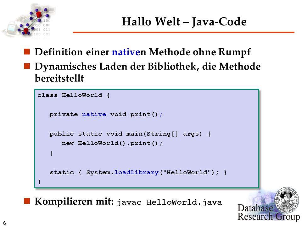 Hallo Welt – Java-Code Definition einer nativen Methode ohne Rumpf