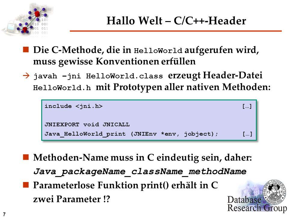 Hallo Welt – C/C++-Header