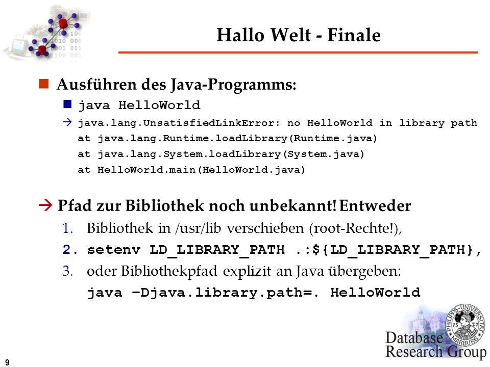 Hallo Welt - Finale Ausführen des Java-Programms: