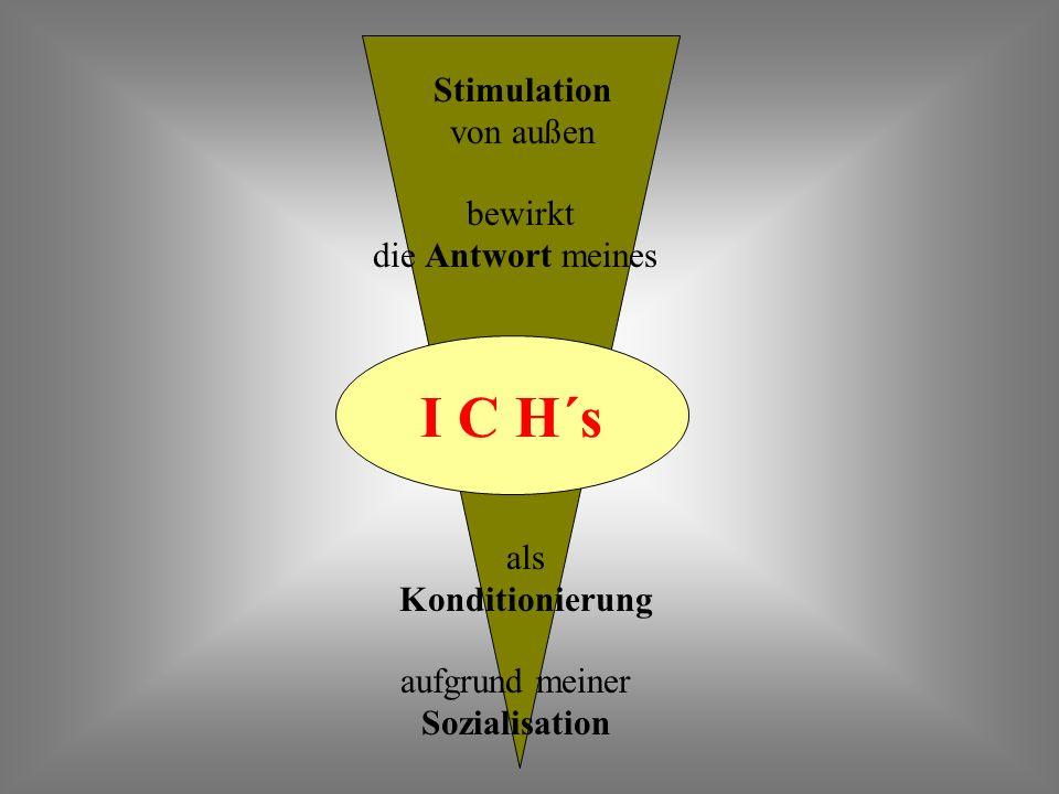 I C H´s Stimulation von außen bewirkt die Antwort meines als