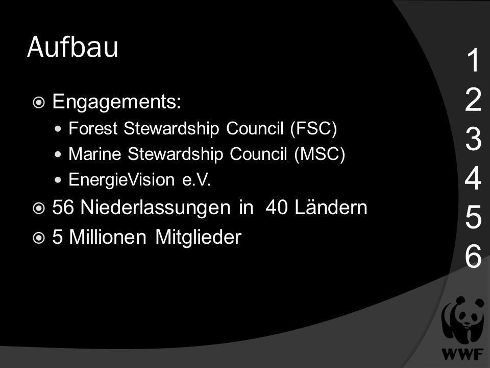 1 2 3 4 5 6 Aufbau Engagements: 56 Niederlassungen in 40 Ländern