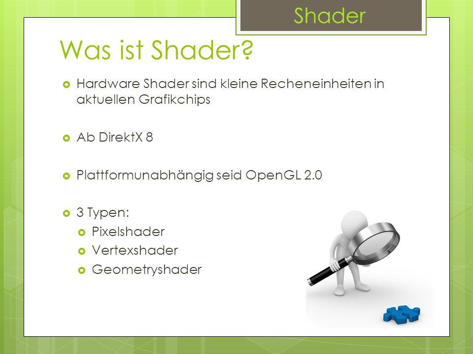Shader Was ist Shader Hardware Shader sind kleine Recheneinheiten in aktuellen Grafikchips. Ab DirektX 8.