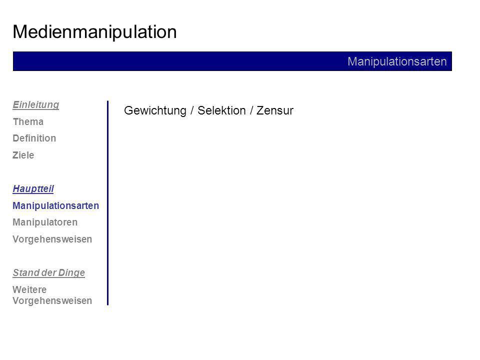 Medienmanipulation Manipulationsarten Gewichtung / Selektion / Zensur