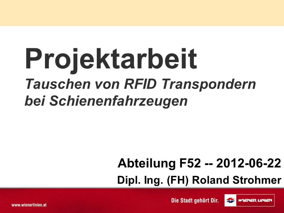 Projektarbeit Tauschen von RFID Transpondern bei Schienenfahrzeugen