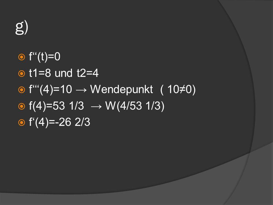 g) f''(t)=0 t1=8 und t2=4 f'''(4)=10 → Wendepunkt ( 10≠0)