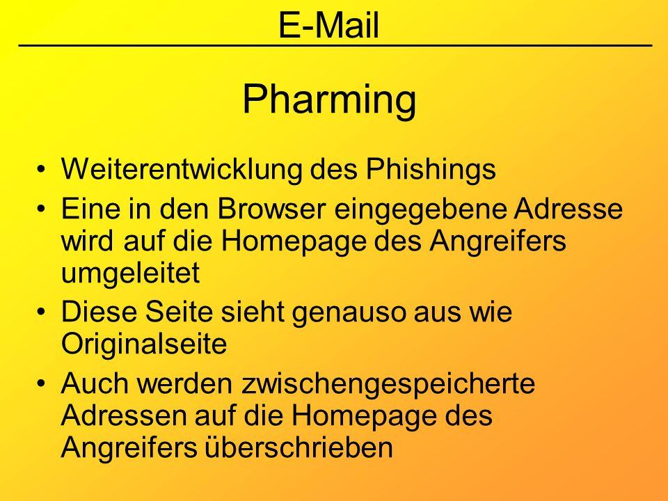 Pharming Weiterentwicklung des Phishings