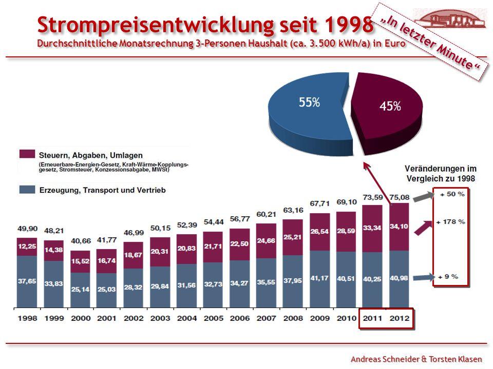 Handouts Strompreisentwicklung seit 1998 Durchschnittliche Monatsrechnung 3-Personen Haushalt (ca. 3.500 kWh/a) in Euro.