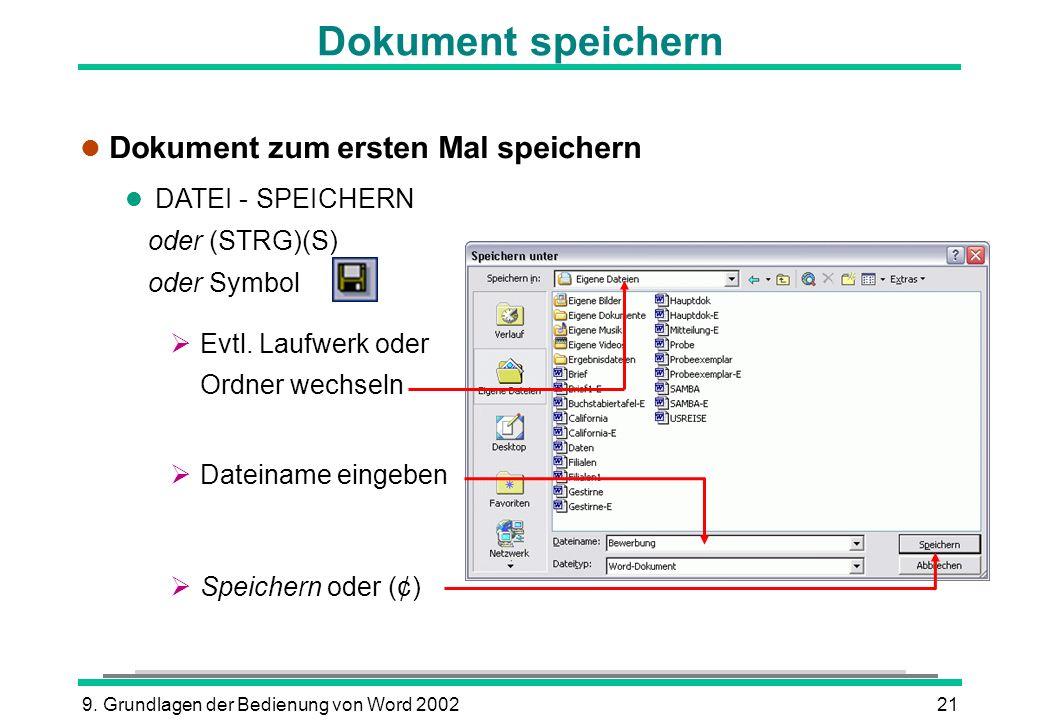 Dokument speichern Dokument zum ersten Mal speichern DATEI - SPEICHERN