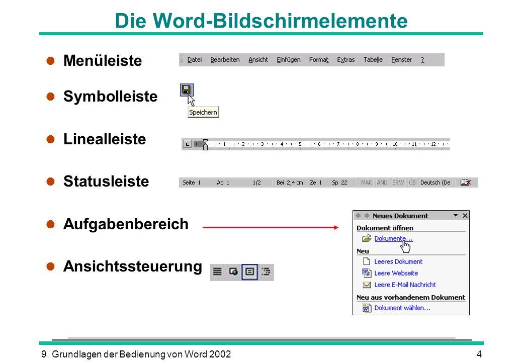 Die Word-Bildschirmelemente