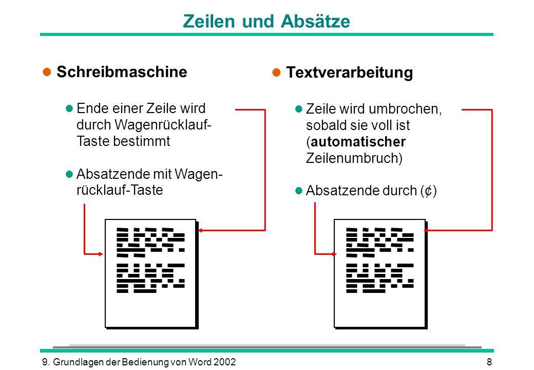 Zeilen und Absätze Schreibmaschine Textverarbeitung