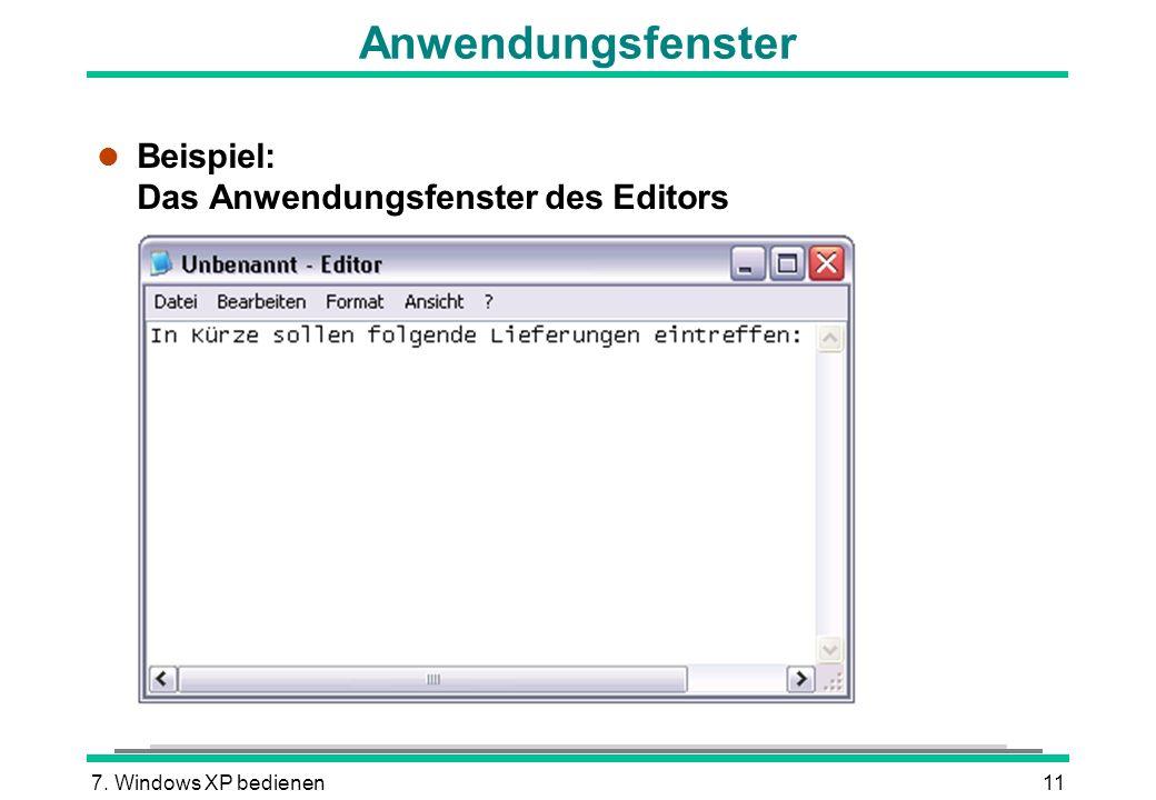 Anwendungsfenster Beispiel: Das Anwendungsfenster des Editors