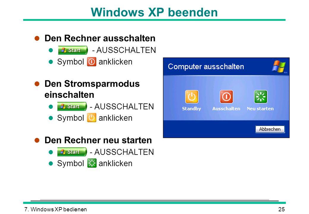 Windows XP beenden Den Rechner ausschalten