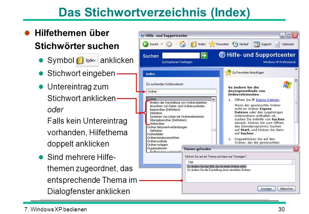 Das Stichwortverzeichnis (Index)
