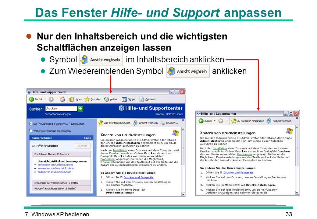 Das Fenster Hilfe- und Support anpassen