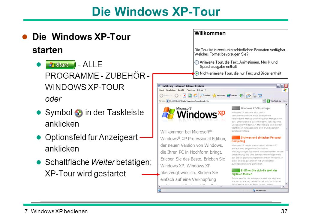 Die Windows XP-Tour Die Windows XP-Tour starten