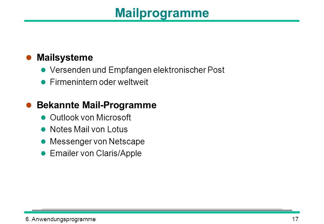 Mailprogramme Mailsysteme Bekannte Mail-Programme