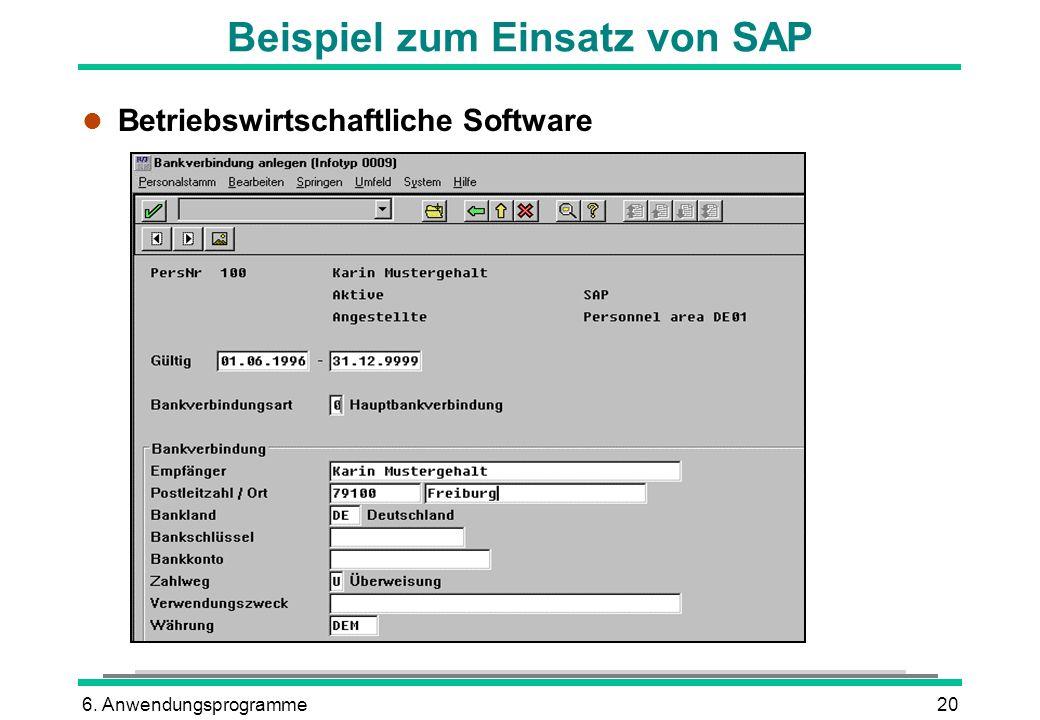 Beispiel zum Einsatz von SAP