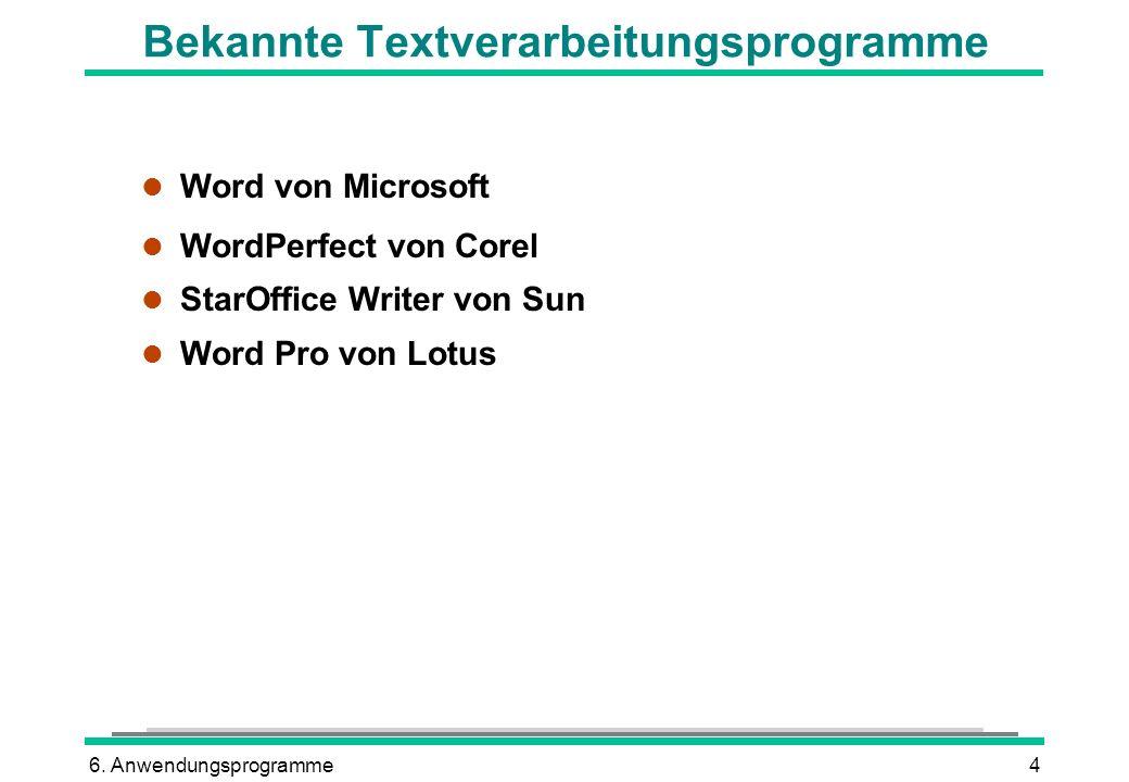 Bekannte Textverarbeitungsprogramme
