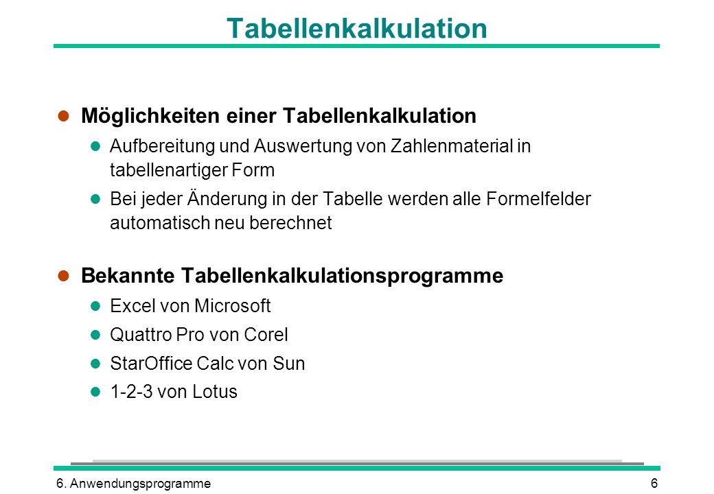 Tabellenkalkulation Möglichkeiten einer Tabellenkalkulation