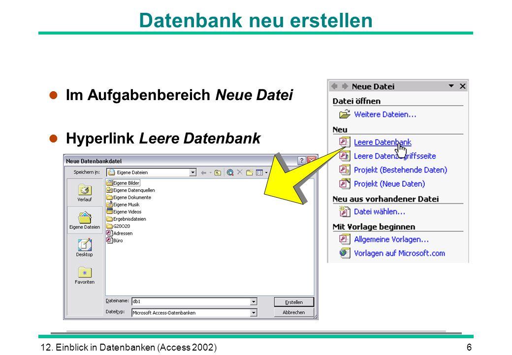 Datenbank neu erstellen