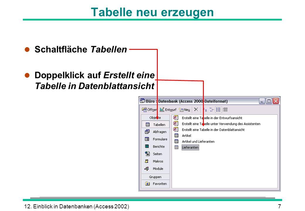 Tabelle neu erzeugen Schaltfläche Tabellen