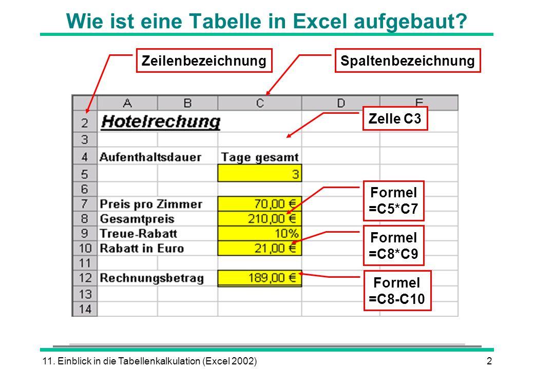 Wie ist eine Tabelle in Excel aufgebaut