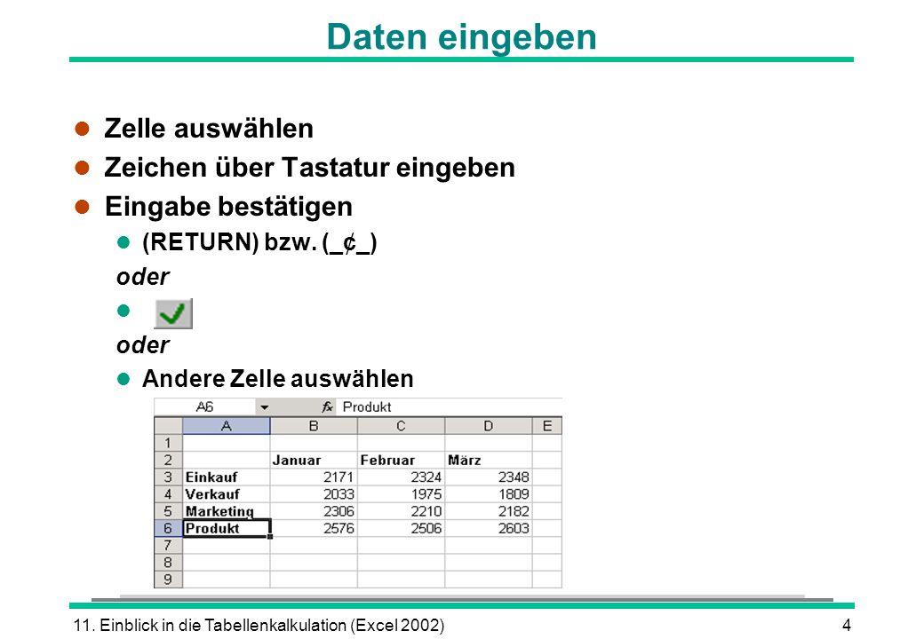 Daten eingeben Zelle auswählen Zeichen über Tastatur eingeben