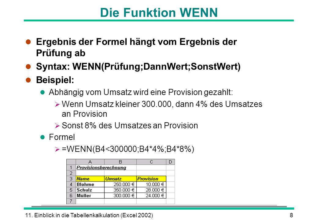 Die Funktion WENNErgebnis der Formel hängt vom Ergebnis der Prüfung ab. Syntax: WENN(Prüfung;DannWert;SonstWert)