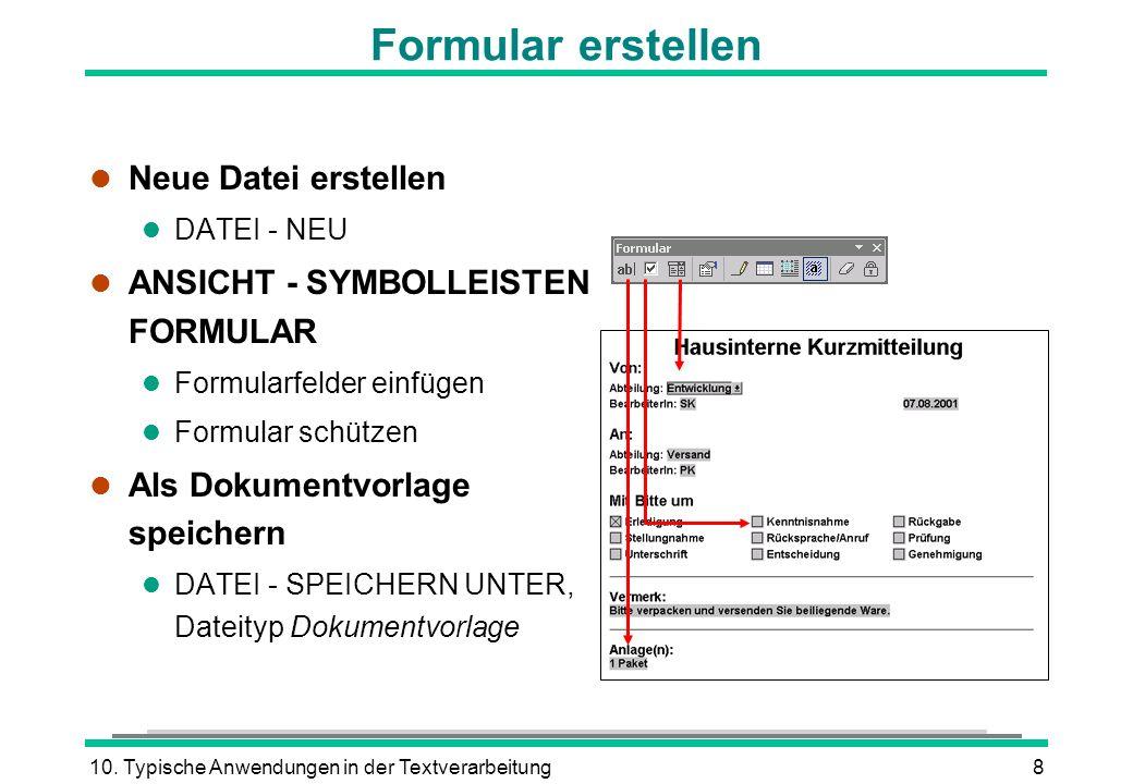 Formular erstellen Neue Datei erstellen