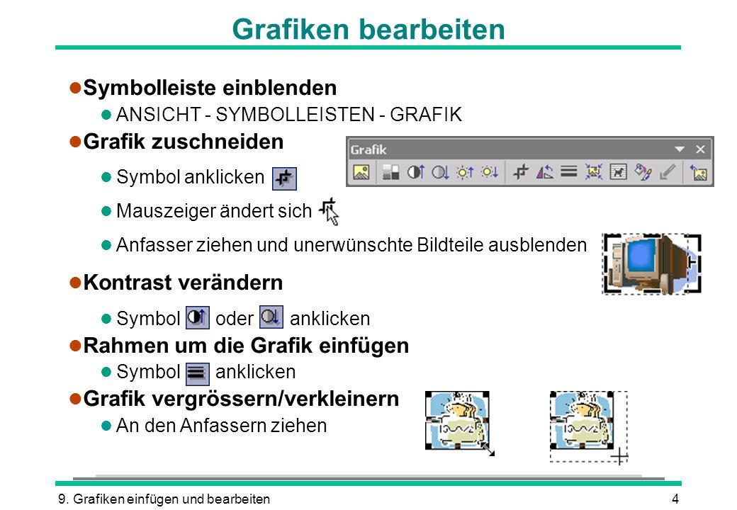 Grafiken bearbeiten Symbolleiste einblenden Grafik zuschneiden