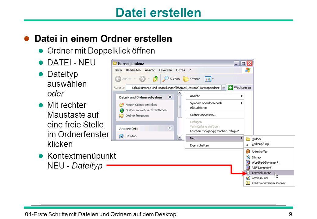 Datei erstellen Datei in einem Ordner erstellen