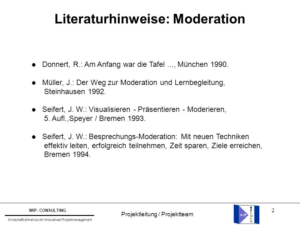 Literaturhinweise: Moderation