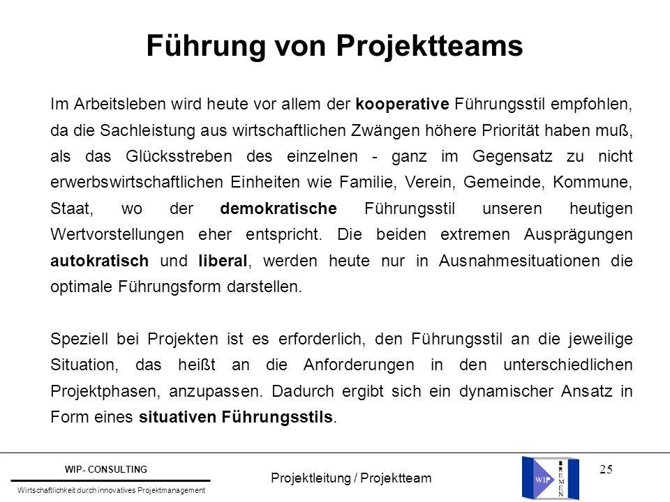 Führung von Projektteams